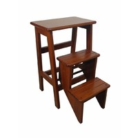 Retro Timber Folding Step Stool  Antique Oak