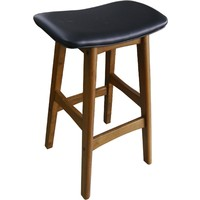 Gangnam Timber Bar Stool - Teak + Black Seat
