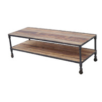 Swan Street Rustic Timber and Metal Industrial Coffee Table