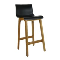 Ryan Bar Stool Timber Natural Frame Black Plastic Seat