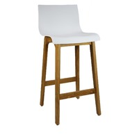 Ryan Bar Stool Timber Natural Frame White Plastic Seat