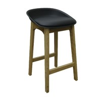 Bryan Bar Stool Timber Natural Frame Black Plastic Seat