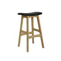 Gangnam Timber Bar Stool - Natural Frame Black Seat
