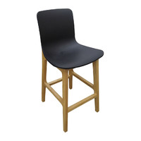 Sally Bar Stool Timber Natural Frame Black Plastic Seat