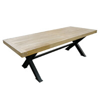 Industrial Metal & Rustic Elm Timber Dining Table 3000mm x 1000mm