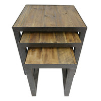 Rustic Timber and Metal Nest of Three Tables