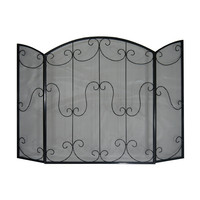 3 Panel Fireplace Guard Screen Protector - Black