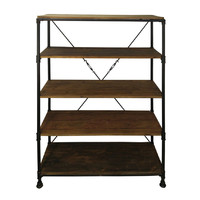 Rustic 6 TIER Industrial Storage Display Bookcase Brown Timber / Metal
