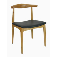 Elbow Chair Replica Hans Wager Timber Natural Oak Stain Black Seat