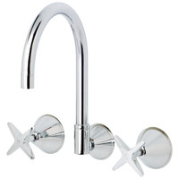 Phoenix Tapware IVY 632 CHR WALL SINK SET Cross Handle Tap