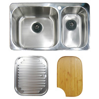 Abey Goulburn Kitchen Sink Package incl Q220 Sink + Cutting Board + Drainer Tray