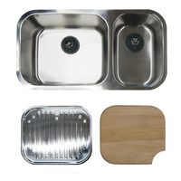 Abey Goulburn Kitchen Sink Package incl Q220U Undermount Sink + Cutting Board + Drainer Tray
