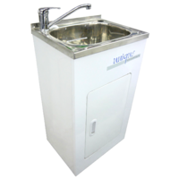 Unique 30 Ltr Laundry Sink Cabinet S/S Cupboard Bypass & outlet
