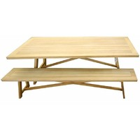 Cascade Outdoor Dining Table and Bench Setting Garuga Timber 1800mm x 900mm
