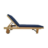 Sun Lounge  Reclinning Pool Chair with Blue Cushion Outdoor Day Bed