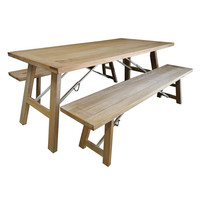 Cascade Outdoor Trestle Folding Leg Dining Table and Bench Setting 2300mm x 1000mm