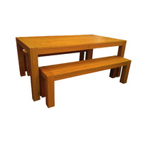 Chunky Leg 3 piece Outdoor Dining Table & Bench Setting 1.8m x 1m
