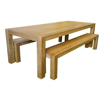 Chunky Leg 3 piece Outdoor Timber Dining Table and Bench Setting 2400mm x 1000mm