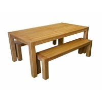 Chunky Leg 3 Piece Outdoor Dining Table & Bench Setting 2m x 1m