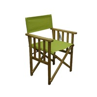 Directors Outdoor Folding Deck Chair Timber Side Slats Polyester Kiwi Green