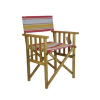 Directors Outdoor Folding Deck Chair Timber Side Slats Polyester Structured Lime