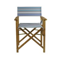 Directors Outdoor Folding Deck Chair Timber Side Slats Polyester Multi Stripe Blue Grey