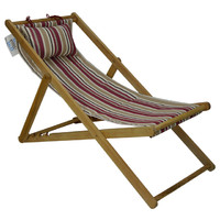 Deck Chair with Pillow Timber Folding Outdoor Duck Multi Stripe Ruby