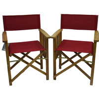 2x Directors Outdoor Folding Deck Chair Timber Side Slats Polyester Ruby Red