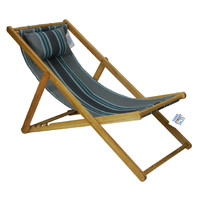 Deck Chair with Pillow Timber Folding Outdoor Rainbow Stripe Blue Grey