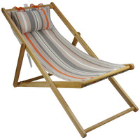 Deck Chair with Pillow Timber Folding Outdoor Random Stripe Orange Grey