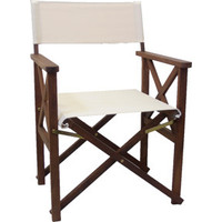 Directors Folding Outdoor Deck Chair Timber Polyester Biege