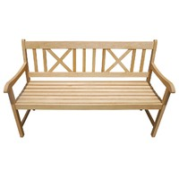 National Cross 3 Seater Timber Outdoor Park Bench 1500mm