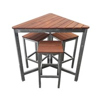 Triangle Beer garden Outdoor Furniture Set 4 Piece Galvanised Steel Timber Setting Bar High
