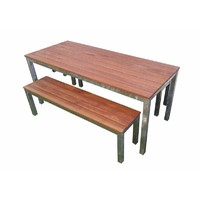 Beer Garden 3 Piece Set 180cm Galvanised Steel Timber Bench Setting