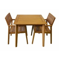 Capri Timber Outdoor 3 piece 865mm x 865mm Dining Table and Chairs Setting