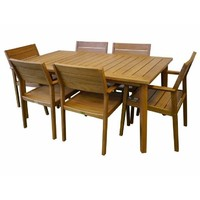Capri Outdoor 7 Piece 209cm x 99cm Dining Table & Chairs Setting