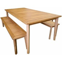 Capri Outdoor 3 Piece Dining Table & Bench Setting 209cm x 99cm