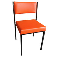 Square Tube Padded Vinyl Dining Visitors Chair RED