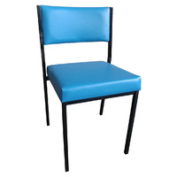 Square Tube Padded Vinyl Dining Visitors Chair Blue