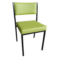 Square Tube Padded Vinyl Dining Visitors Chair Green