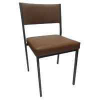 Square Tube Padded Vinyl Dining Visitors Chair Chocolate