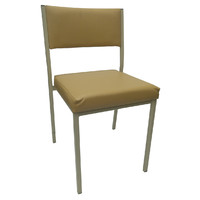 Square Tube Padded Vinyl Dining Visitors Chair Soft Cream