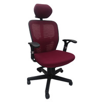 Hillary High Back Mesh Office Chair w Arms and Head Rest Burgundy