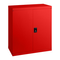 Economy Stationery Cupboard Steel Adjustable 2 Shelves 2 Door 1020mm High Lockable Cabinet Signal Red
