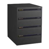 4 Drawer File Storage Office Steel Legal Cabinet Aussie Made Life Time Warranty Black Ripple