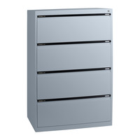 4 Drawer File Storage Office Steel Lateral Filing Cabinet Aussie Made Life Time Warranty Silver