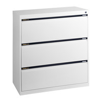 3 Drawer File Storage Office Steel Lateral Filing Cabinet Aussie Made Life Time Warranty White