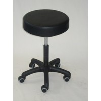 Mobile Round Stool Standard Chair Height with Gas Lift Mechanism Black