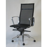 Jubilee Mesh High Back Chair 2 Way Gas Lift Aluminium Arms & Base Office Desk Chairs Black