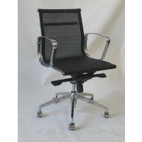 Jubilee Mesh Medium Back Chair 2 Way Gas Lift Aluminium Arms & Base Office Desk Chairs Black